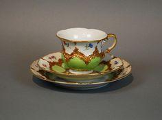 Meissen Tea Cup Trio Lime Green Vintage