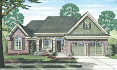 ePlans English Cottage House Plan – Brick Ranch With Cottage Charm – 1902 Square Feet and 3 Bedrooms from ePlans – House Plan Code HWEPL76912