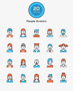 Flat line color icons -People Avatars on Behance