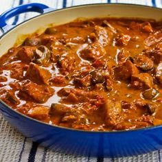 Recipe for Pork with Paprika, Mushrooms, and Sour Cream [Visit the Blog for how-to photos for this recipe from Kalyn's Kitchen]  #SouthBeachDiet #LowGlycemic #LowCarb