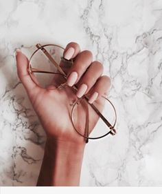 $25 Cool On Trend Transparent Round Sunglasses Emily Ratajkowski With Nude Pink Simple Nails Nail Varnish