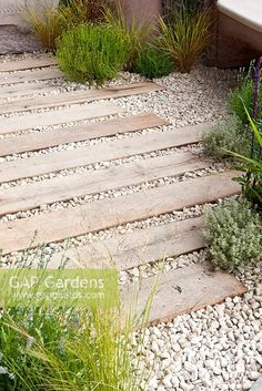 Patio of white gravel and timber planks . Patio of white gravel and timber planks . Gravel Landscaping, Gravel Patio, Gravel Garden, Gravel Pathway, Wood Pathway, Gravel Driveway, Walkways, Back Gardens, Outdoor Gardens
