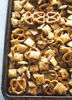 A sweet and salty praline-like coating adds addictive crunch to this snack mix. It makes a great snack for a crowd or stores nicely to give as a gift.