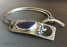Sterling silver bracelet with sodalite cab by LjBjewelry
