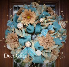 Turquoise and Burlap Wreath with BURLAP FLOWERS and BERRIES by decoglitz on Etsy