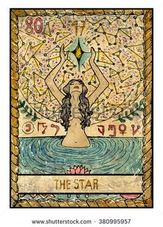 The star.  Full colorful deck, major arcana. The old tarot card, vintage hand drawn engraved illustration with mystic symbols. Young woman swimming in the pond and looking at the star