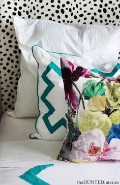 the HUNTED INTERIOR: Spotted Headboard, Florals & oh the Bedding