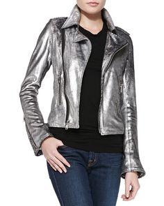 Space Cowboy Metallic Leather Jacket by RtA Denim at Neiman Marcus.