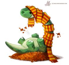 Daily Paint #1053. Autumn Dinos - Apatosaurus by Cryptid-Creations on DeviantArt