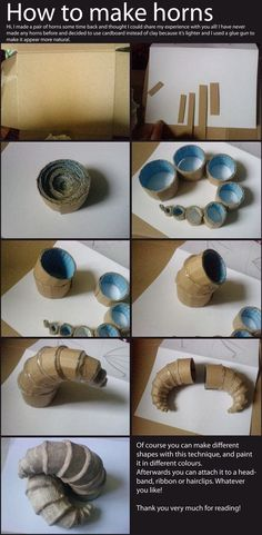 DIY: How to Make Horns. Id imagine you could smooth it over later with fabric, or light clay, or mesh too!