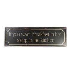 Schwarzes Metallschild Breakfast in Bed von Ib Laursen