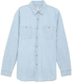 $82, Light Blue Chambray Long Sleeve Shirt: Coast Wide Astral Lights Limited Edition Woven Shirt. Sold by East Dane. Click for more info: https://lookastic.com/men/shop_items/187748/redirect