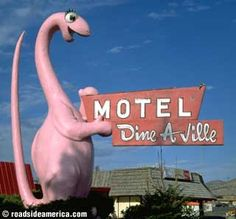 Ossineke Dino. Dine-A-Ville Motel Dinosaur: Address: US Hwy 40, Vernal, UT  Directions: East side of town near US 40 on a hill.