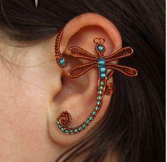 wire wrapped butterfly ear cuff