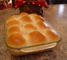 Fluffy one hour dinner rolls-- they were the BEST fast rolls I've ever had or made. I let the dough rise a bit longer of a first rise in the warm oven before shaping, and I made 16 smaller rolls and let them rise to fill a roasting pan. I also brushed them with cream of coconut mixed with sugar right before baking-- instant coconut sticky buns!!!! They were soooooooo good!
