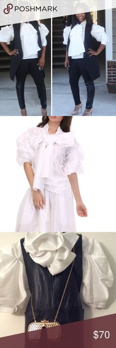 Stylish Oversized Bow Blouse, NWT Fabulous pullover oversized bow blouse, S/S. Bow can be tied many ways, 100% Polyester. Perfect for the holiday season✨❤️ TOV Tops Blouses