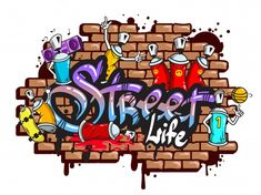 Buy Graffiti Word Characters Composition by macrovector on GraphicRiver. Decorative urban world youth street life graffiti art spraycan characters and drippy blotchy letters composition vect. Graffiti Designs, Graffiti Art Drawings, Graffiti Doodles, Graffiti Wall Art, Graffiti Alphabet, Graffiti Styles, Grafitti Letters, Graffiti Images, Wie Zeichnet Man Graffiti