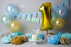 Amanda Dams Photography - Cake Smash Blue / Mint / Gold / Grey