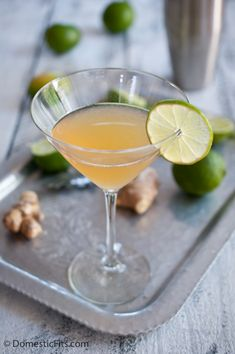 Ginger Lime Daiquiri - Rum, Lime Juice, Ginger Simple Syrup, Grated Ginger.