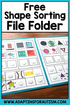 Free shapes sorting file folder : Try this free file folder to practice sorting simple shapes. Add this to your math centers or independent work stations in special education classrooms. Special Education Activities, Autism Education, Autism Activities, Sorting Activities, Special Education Classroom, Math Resources, Art Education, Autism Classroom, Education Quotes