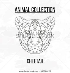 Cheetah head geometric lines silhouette isolated on white background vintage vector design element illustration