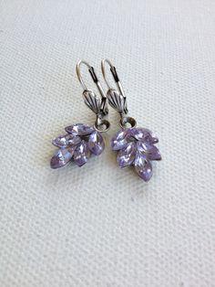 Rhinestone leaf earrings Lavender by ChicMaddiesBoutique on Etsy