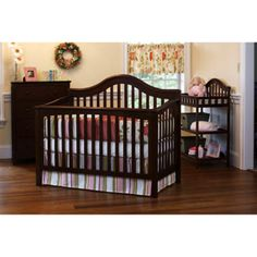 This is what we are getting for Connor's room. :) Child of Mine by Carter's - Jamestown Crib, Dresser, Changing Table & Mattress Value Bundle, Chestnut Black Crib, 4 In 1 Crib, Changing Table Dresser, Kids Bedroom Furniture, Baby Furniture, Big Girl Rooms, Baby Rooms, Crib Sets, Dream Baby