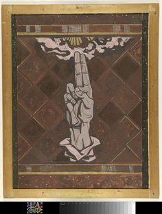 Zwerende hand; ontwerp voor figuur van de marmerdecoratie in de Hoge Raad te Den Haag, Richard Roland Holst, c. 1868 - c. 1938