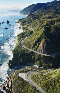 Aerial view -Pacific Coast Hwy., California. Motorcycle riding at its finest! Honey lets go here....