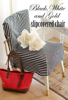 How pretty to do with a tiny chair for the Glam Closet! Black, White, and Gold Slip Covered Chair - Best of DIY tutorial for slip cover Ana White, Black And White, Diy Furniture Chair, Furniture Makeover, Furniture Covers, Sillas Wingback, Chevron, Diy Cape, Design Simples