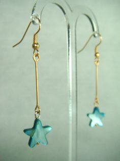 Turquoise Mother of Pearl Star Drop Earrings - £5.50 at http://jewellerybyrebecca.co.uk/mpe003