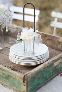 Dreamy Whites: KT Merry, a French Crate, and Mason Jars.....A Simple Barbecue Table Setting