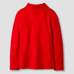 Toddler Girls' Long Sleeve Interlock Polo Shirt Cat & Jack - Red 3T, Toddler Girl's
