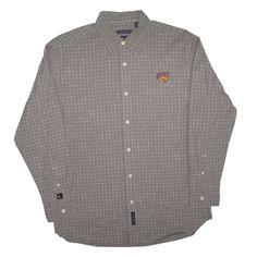 Vesi Sportswear graphite long sleeve button-up dress shirt with white grid design. $62.99