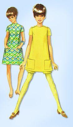 1960s Vintage Simplicity Sewing Pattern 7456 Uncut Teen Girls Twiggy Dress 29 B