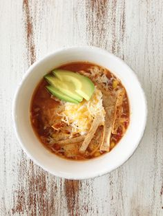 Healthified Crock Pot Chicken Tortilla Soup- added a whole 8 oz can of tomatoes with chiles and used rotisserie chicken- cook for three hours
