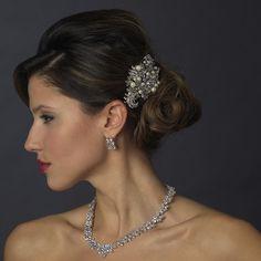 Felicia - Vintage Crystal Pearl Bridal Comb   www.bella-Tiara.com