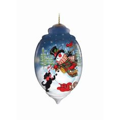 Snowman Dog Ornament Ne'Qwa Art Snow One Like You Christmas Reverse Painted
