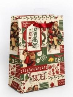 Vintage Christmas Gift Bag Small 16cm @ gainsboroughgiftware.com