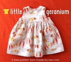 Little Geranium is a month-sized pattern excerpt from the original Geranium Dress pattern. It is the basic sleeveless Geranium Dress pattern in the newborn Free Baby Patterns, Baby Dress Patterns, Sewing Patterns Free, Free Sewing, Clothing Patterns, Free Pattern, Baby Dress Pattern Free, Pocket Pattern, Sewing Ideas