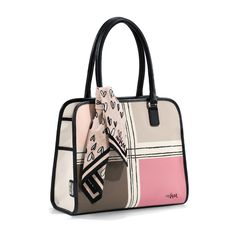 With six (yes, six) interior pockets and two side pockets on the exterior, this Vera Satchel is not only darling, it's actually super functional. Includes a sweet scarf with Vera's raining hearts pattern. Vera Colorblock Satchel available at Mens Satchel, Satchel Purse, Satchel Handbags, Fashion Handbags, Fashion Bags, Spring Bags, Brighton Bags, White Handbag, White Purses