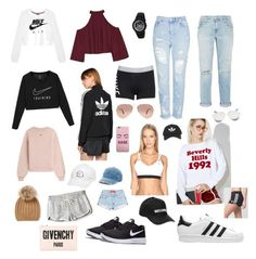 """""""My style/wants"""" by samkitten69 ❤ liked on Polyvore featuring NIKE, W118 by Walter Baker, Topshop, Current/Elliott, adidas Originals, Wildfox, adidas, Ray-Ban, Off-White and Mudd"""