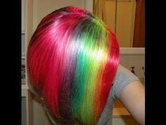 DIY Rainbow Hair - #hairdye #hairstyle #haircolor #rainbowhair - bellashoot.com