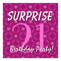 21st SURPRISE Birthday Magenta and Purple for Her Custom Invite  #jaclinart #invitation #favor #surprise #birthday #invites #21stBirthday