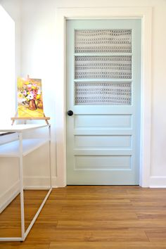 Garage Creative Studio & Pop-up Shop – Nature's Reflection Painted Door Laminate Flooring Basement, Installing Laminate Flooring, Vinyl Plank Flooring, Inexpensive Flooring, Favorite Paint Colors, Flooring Options, Painted Doors, Large Homes, Creative Studio