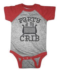 Heather Gray & Red 'Crib Party' Raglan Bodysuit