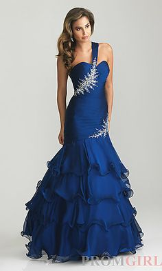 One Shoulder Mermaid Gown by Night Moves 6735 at PromGirl.com