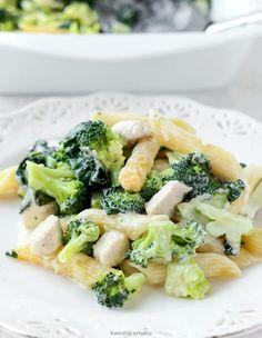 Zapiekanka makaronowa z kurczakiem, brokułami i szpinakiem Broccoli, Risotto, Penne, Potato Salad, Healthy Recipes, Healthy Food, Food And Drink, Potatoes, Vegetables