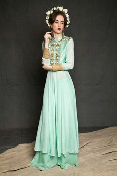 Minty gown. See the full collection on our website www.waliajones.com/saumya-Gupta #waliajones #saumyagupta #newcollection #newdesigner #desi #indianclothes #mint #mintgown #Anarkali #onlineboutique #indianboutique