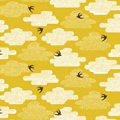 Skinny laMinx Free as a Bird in Pollen von DinoFabric auf DaWanda.com No tiene rosa pero me ha encantado, esas golondrinas son una monada... y sus nubecitas...